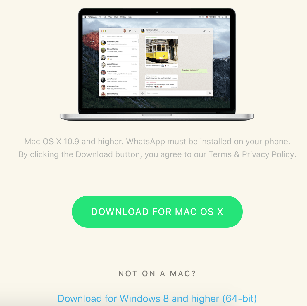WhatsApp for PC/Mac/Windows