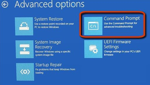 Command Prompt using Advance Windows Options