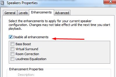 Disable all enhancements