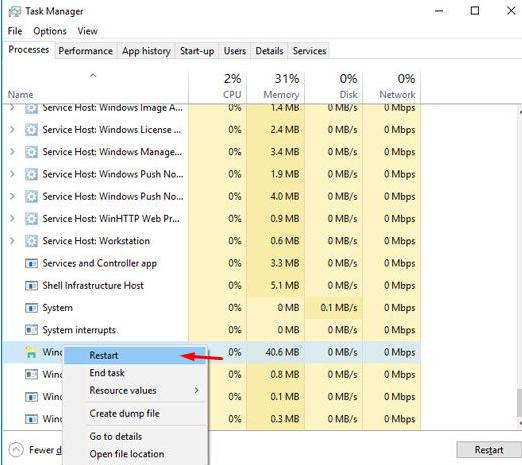 Restart the Windows Explorer Process