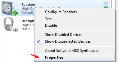 Windows Speakers Properties