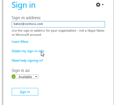Delete skype account from login screen