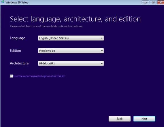 language selection for Windows 10