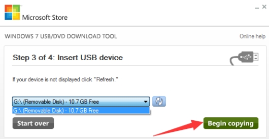 select USB device to burn iso