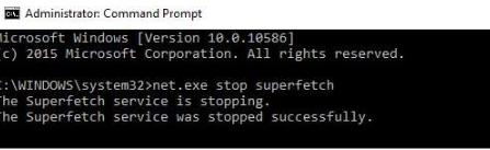 net.exe stop superfetch