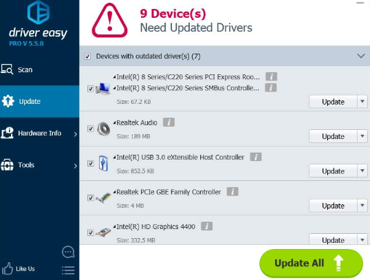 updating all drivers using drivereasy