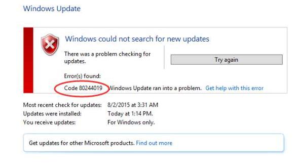 How to Fix Windows Update Error 80244019