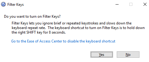 Turn off Filter Keys